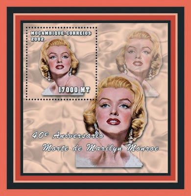 Marilyn Monroe 17000 MT - Issue of Mozambique postage Stamps