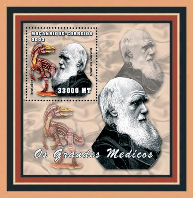 Charles Darwin  (Dinos) 33000 MT - Issue of Mozambique postage Stamps