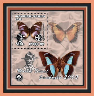 Scouts - Butterflies 17000 MT - Issue of Mozambique postage Stamps