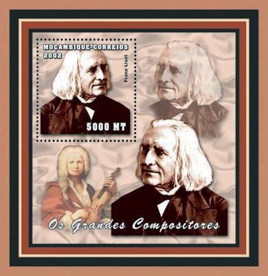 Franz Liszt   5000 MT - Issue of Mozambique postage Stamps