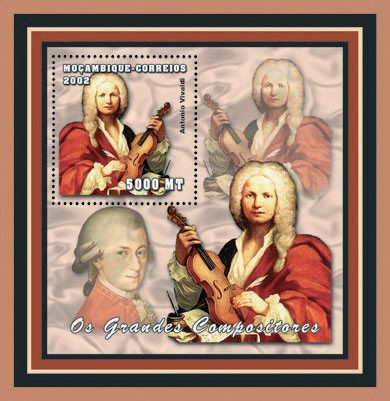 Antonio Vivaldi 5000 MT - Issue of Mozambique postage Stamps
