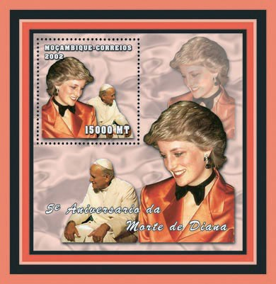 Pope Joan Paul II - Diana 15000 MT - Issue of Mozambique postage Stamps