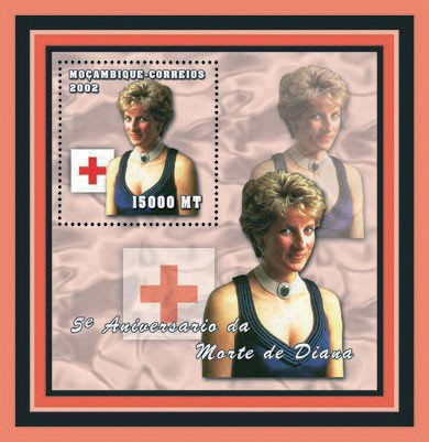 Diana ( Red cross ) 15000  MT - Issue of Mozambique postage Stamps