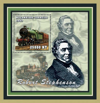 Robert Stephenson - Trains 25000 MT - Issue of Mozambique postage Stamps