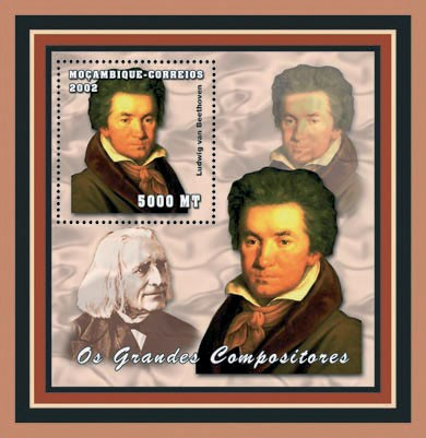 Liudwig van Beethoven 5000 MT - Issue of Mozambique postage Stamps