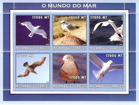 Sea gull (blue) 6 x 17000  MT - Issue of Mozambique postage Stamps
