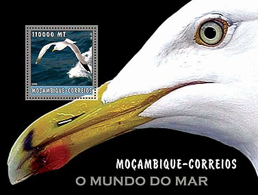 Sea gull (black)  110000 MT  S/S - Issue of Mozambique postage Stamps
