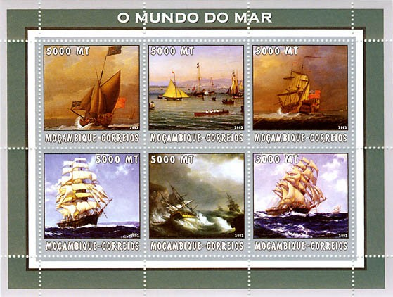 Ships  6 x 5000  MT - Issue of Mozambique postage Stamps