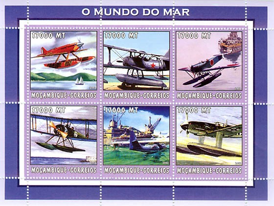 Sea planes  6 x 17000  MT - Issue of Mozambique postage Stamps