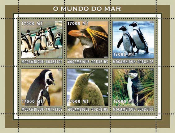 Penguins (beige)  6 x 17000  MT - Issue of Mozambique postage Stamps
