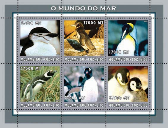 Penguins (grey)  6 x 17000  MT - Issue of Mozambique postage Stamps