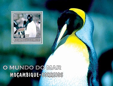 Penguins (grey)  110000 MT  S/S - Issue of Mozambique postage Stamps