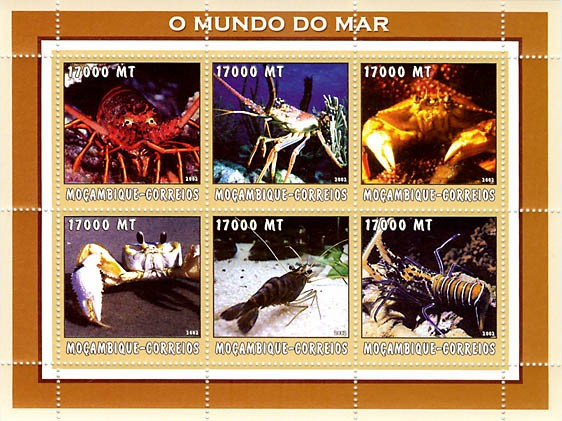 Lobsters 6 x 17000  MT - Issue of Mozambique postage Stamps