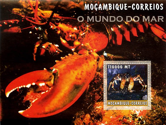 Lobsters 110000 MT  S/S - Issue of Mozambique postage Stamps