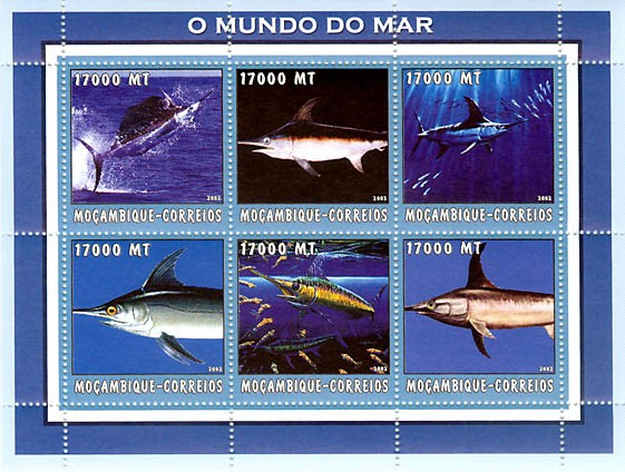 Swordfish Sea  6 x 17000  MT - Issue of Mozambique postage Stamps