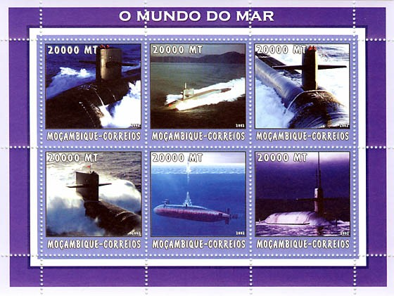 Submarines  6 x 20000 MT - Issue of Mozambique postage Stamps