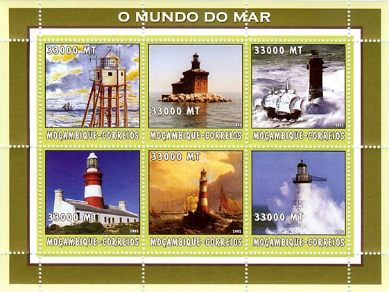 Lighthouses 3 x 33000 MT - Issue of Mozambique postage Stamps