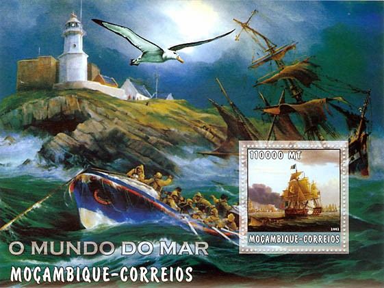 Ships (lighthouse) 110000 MT  S/S - Issue of Mozambique postage Stamps