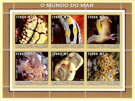 Corals (yellow)  6 x 17000  MT - Issue of Mozambique postage Stamps
