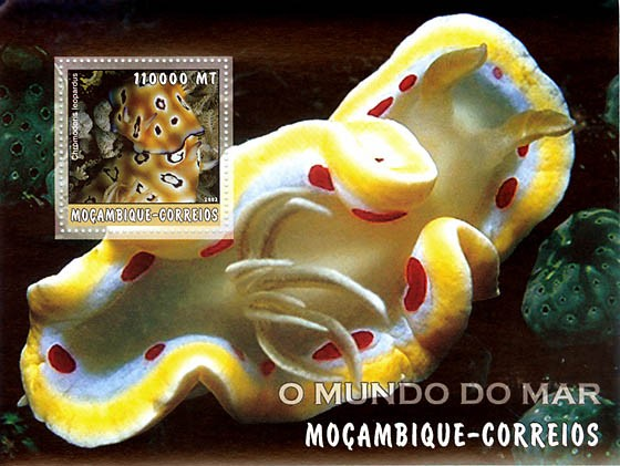 Corals (yellow)  110000 MT  S/S - Issue of Mozambique postage Stamps