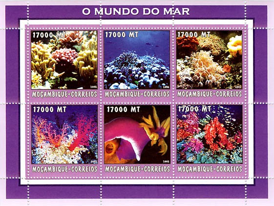Corals (blue)  6 x 17000  MT - Issue of Mozambique postage Stamps