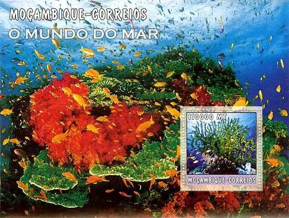 Corals (blue)  110000 MT  S/S - Issue of Mozambique postage Stamps