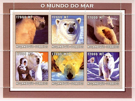 Polar Bears 6 x 17000  MT - Issue of Mozambique postage Stamps