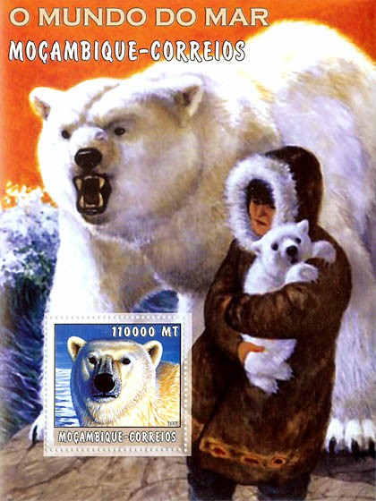 Polar Bears 110000 MT  S/S - Issue of Mozambique postage Stamps