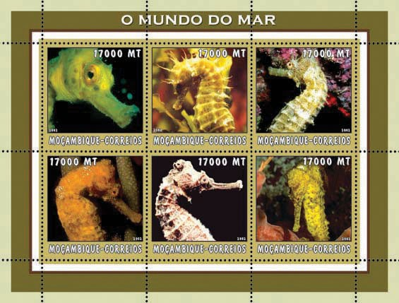 Sea Horses 6 x 17000  MT - Issue of Mozambique postage Stamps