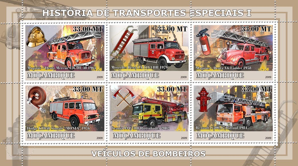 History of Special transport I / Fire Engines - Issue of Mozambique postage Stamps