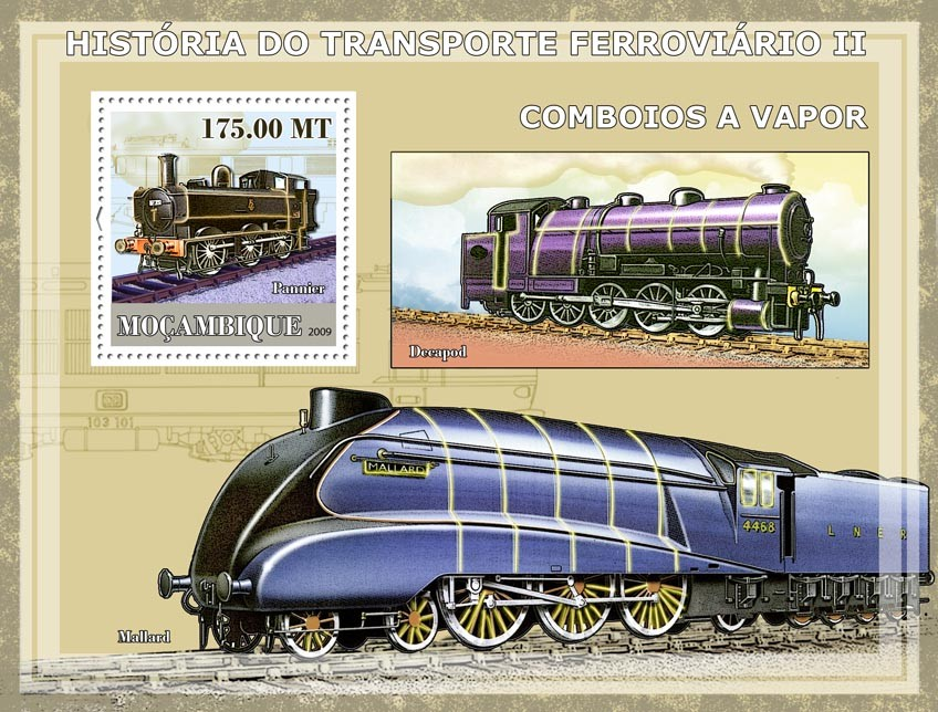 History of Trains II / Steam trains - Issue of Mozambique postage Stamps