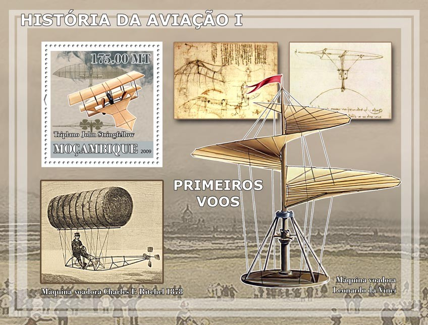 History of Aviation I / First flights - Issue of Mozambique postage Stamps