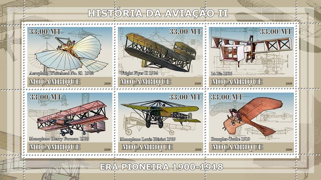History of Aviation II / Era of 1900-1918 - Issue of Mozambique postage Stamps