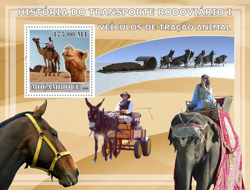 History of Road transport I / Vehicles tractive animal - Issue of Mozambique postage Stamps