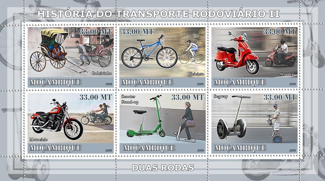 History of Road transport II / Two wheels - Issue of Mozambique postage Stamps