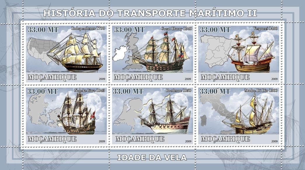 History of See transport II / Age of sail - Issue of Mozambique postage Stamps