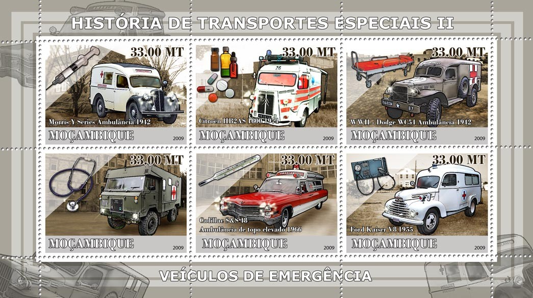 History of Special transport II / Ambulance Cars - Issue of Mozambique postage Stamps