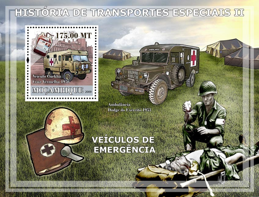 History of Special transport II  Military Ambulance Cars. - Issue of Mozambique postage Stamps