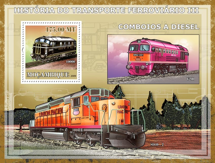 History of Trains III / Diesel trains - Issue of Mozambique postage Stamps