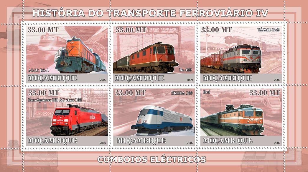History of Trains IV / Trains - Issue of Mozambique postage Stamps