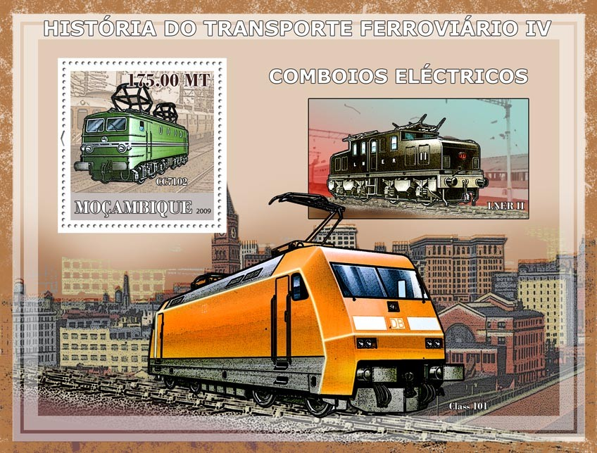 History of Trains IV/ Electric trains - Issue of Mozambique postage Stamps