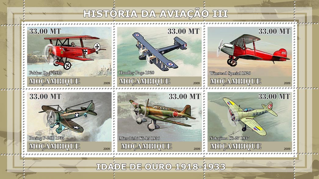 History of Aviation III / Era of 1918-1933 - Issue of Mozambique postage Stamps
