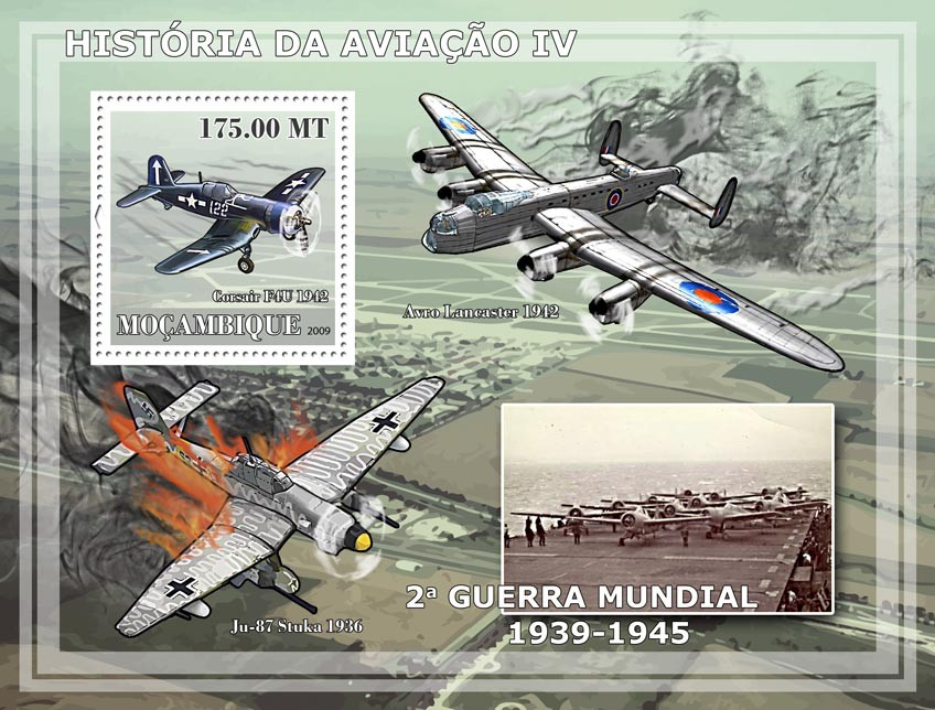 History of Aviation IV - II World War Planes - Issue of Mozambique postage Stamps