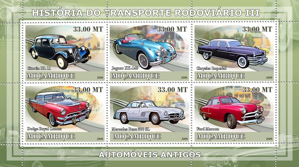 History of Road transport III / Ancient cars - Issue of Mozambique postage Stamps