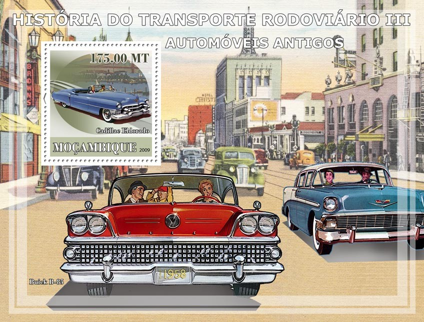 History of Road transport III /Ancient cars - Issue of Mozambique postage Stamps