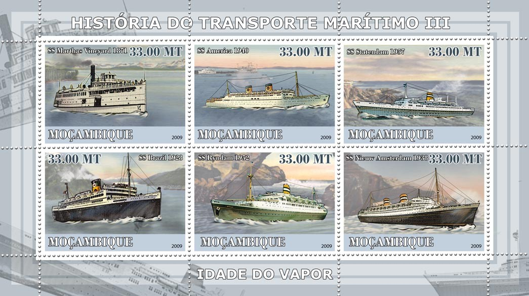 History of See transport III / Age of Steam Ships - Issue of Mozambique postage Stamps
