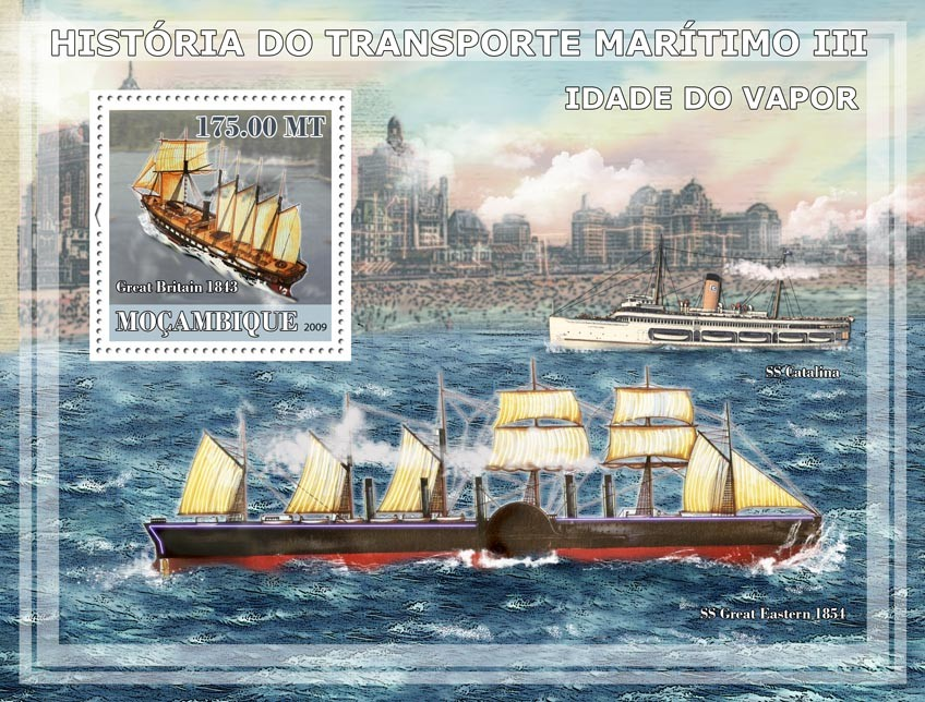 History of See transport III /Age of Steam Ships - Issue of Mozambique postage Stamps