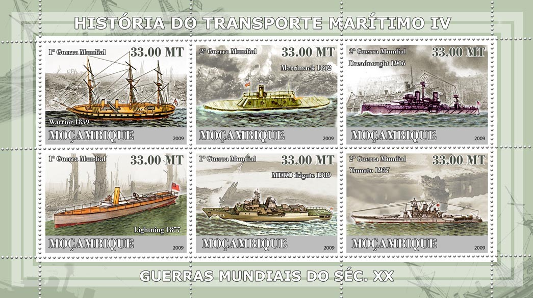 History of See transport IV / Military Ships - Issue of Mozambique postage Stamps