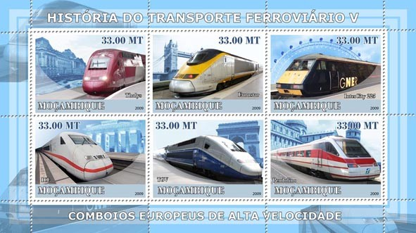 History of Trains V / European High Speed Trains - Issue of Mozambique postage Stamps