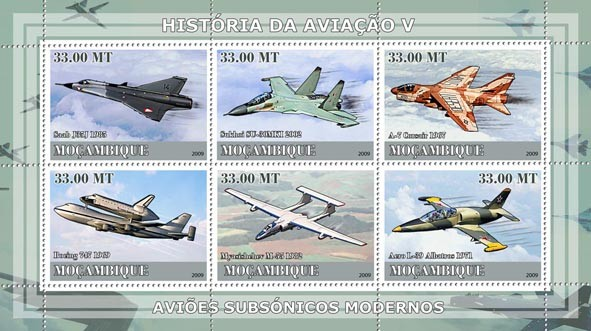 History of Aviation V / Modern Supersonic Planes - Issue of Mozambique postage Stamps